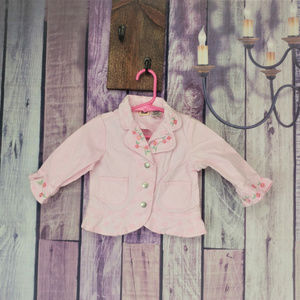 Other - embroidered pink denim jacket girls 12 month X23